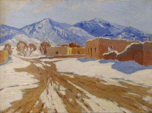 "Sheldon Parsons, Winter Mountain Adobe, Oil, c. 1920, 9"" x 12"""
