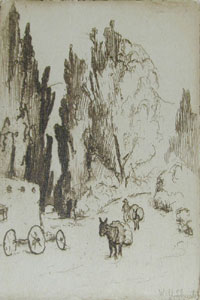 "William Howard Shuster, Scene in Santa Fe, Circa 1930, Etching, 3"" x 2"""