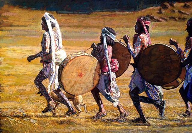 Bill Baker, Band on Da Run, pastel 27x38
