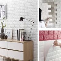 Τρισδιάστατα αυτοκόλλητα τοίχου με ανάγλυφη ταπετσαρία τούβλο