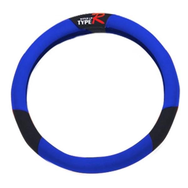 Κάλυμμα τιμονιού αυτοκινήτου ύφασμα Type R μαύρο-μπλε medium 38cm