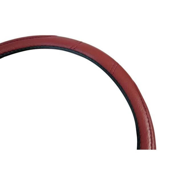 Κάλυμμα τιμονιού αυτοκινήτου δερματίνη με γαζιά κόκκινο medium 38cm