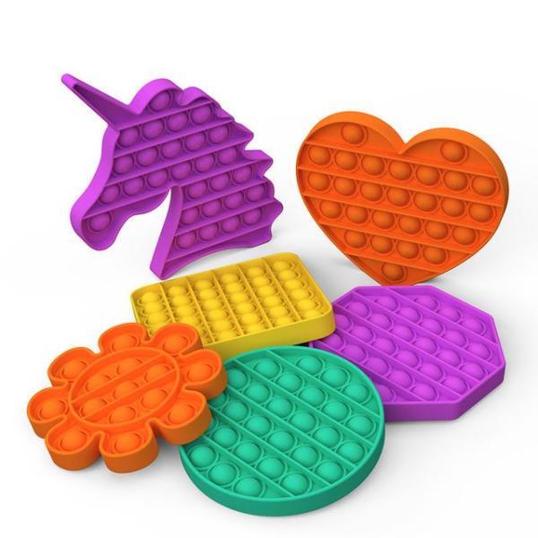 Push Pop It Bubble Fidget Toy Stress Στρογγυλό, τετράγωνο, οχτάγωνο, καρδιά, δεινόσαυρος, μονόκερως