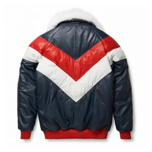 Leather V-Bomber Jacket Red White Blue With White Fox Fur