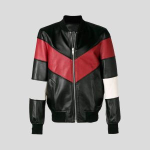 Chevron Stripe Leather Bomber Jackets