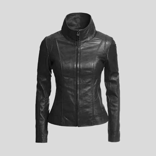 Ladies Lambskin Leather Biker Jacket
