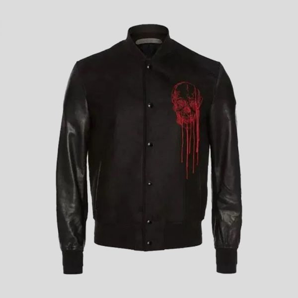 Soft Lambskin and Cotton Doeskin Embroidered Varsity Jacket