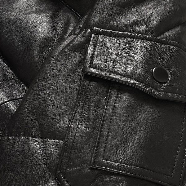 Black Leather Men's Bubble Fashion Jacket