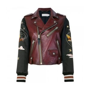 Embroidered Souvenir Biker Style Women Leather Jacket