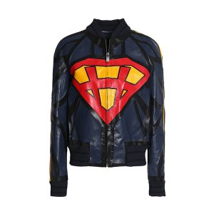 Navy Printed leather jacket Women