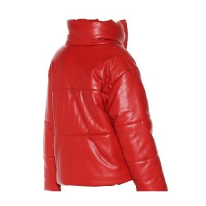 Red Real leather puffer jacket Bubble Jacket
