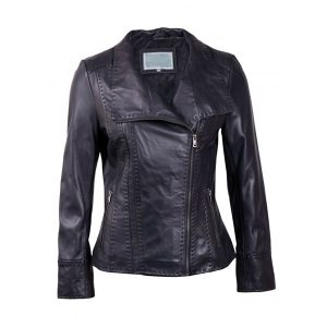 Women Biker Style Leather Jacket