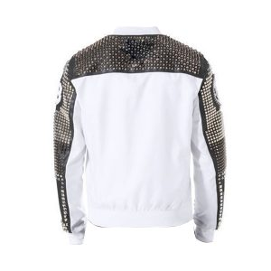 White Original Studded Punk Men Leather Jacket with Embroidery Patches