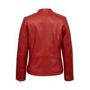Women's Red Leather Biker Jacket