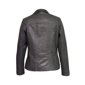 Womens Grey Leather Biker Jacket