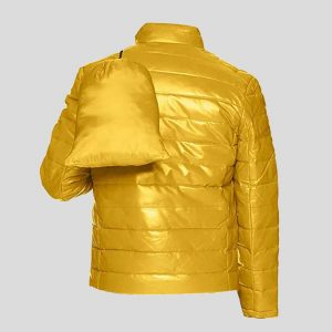 Yellow Men's Leather Packable Down Filled Puffer Jacket