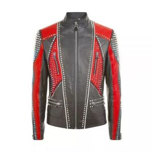 Best Choice Studded Punk Men Leather Fashion Jacket With Red
