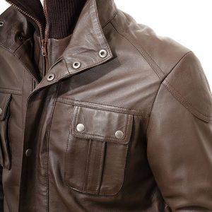 Men's Brown Leather Jacket with button