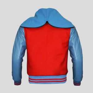 Top Quality Wool Red and Genuine Leather Sleeves Varsity Jacket