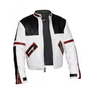 CHASER BOX BLACK AND WHITE BOMBER LEATHER JACKET