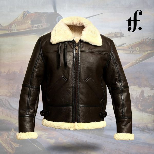 Mens B3 WWII Leather Bomber Pilot Jacket