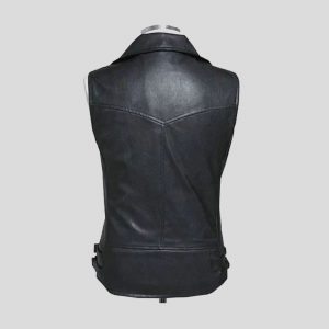 Black Ideal Leather Vest for Mens with Red Zipper Pocket.