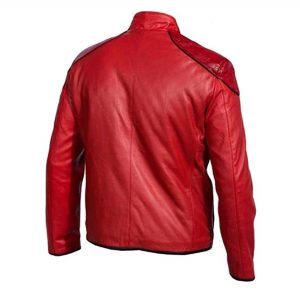 Shazam Red Faux Mens Leather Jacket Costume Style