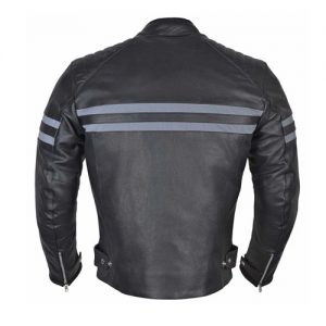 Men Classic Leather Motorcycle Jacket with Coronavirus Safety Mask (COVID-19)