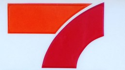 Selection of orange and red from a sign