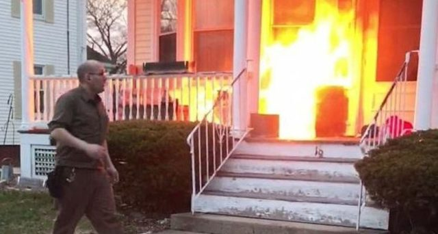 UPS Driver Paul Pereira Bangs On Door, Woman Opens It To Find Porch On Fire