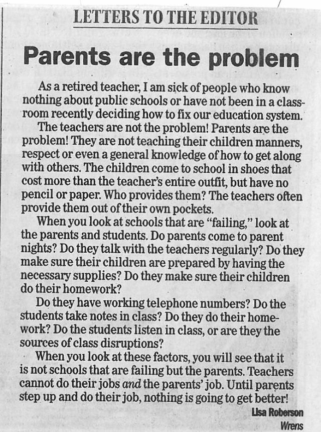 Retired Teacher Lisa Roberson Pens Open Letter To Parents