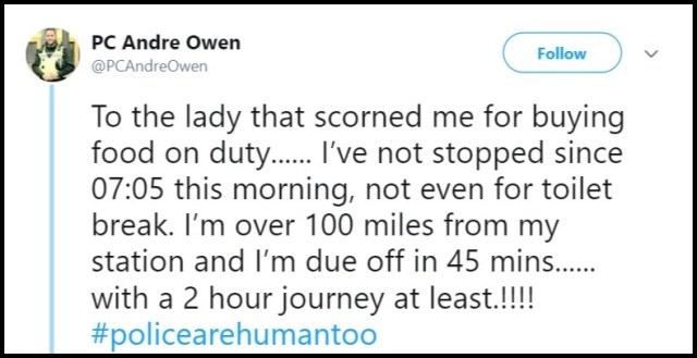 Woman Shames Officer Andre Owen For Getting Lunch While On Duty