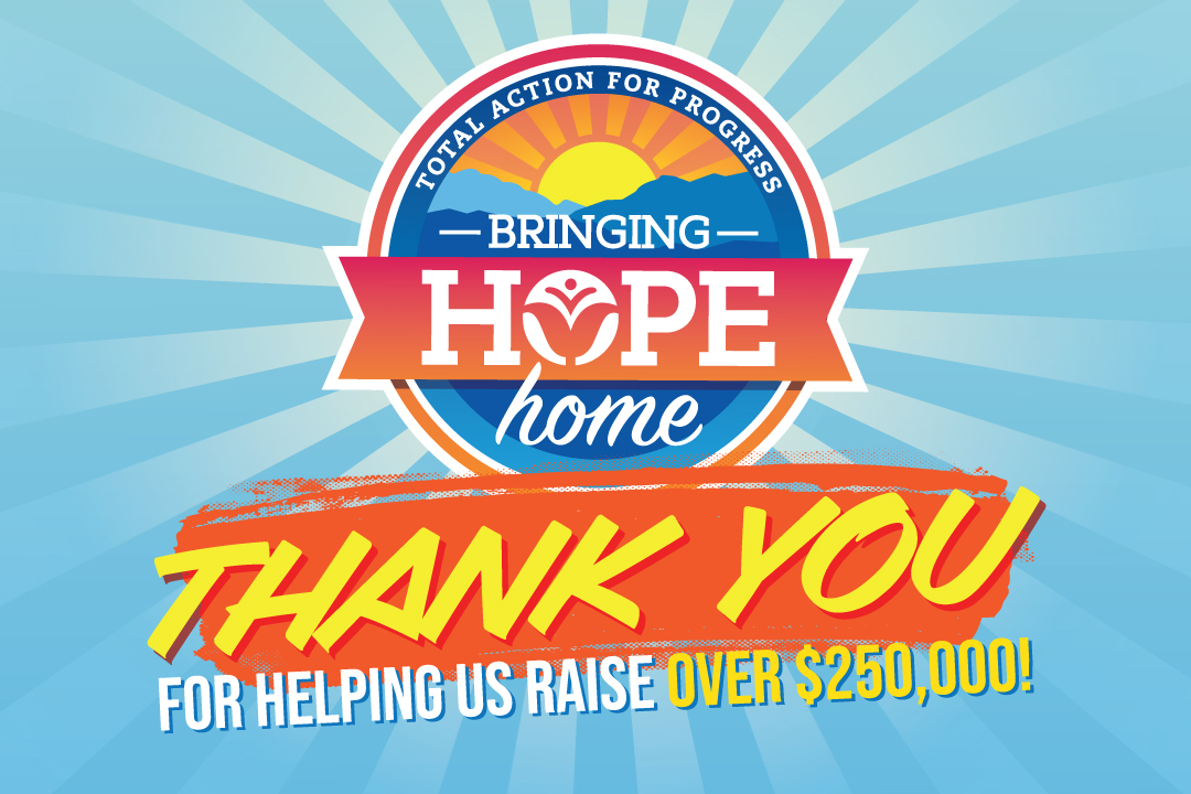 Brightly colored graphic saying thank you for donations