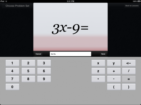 Algebra Touch iOS iPad iPhone Math App | Create Problems