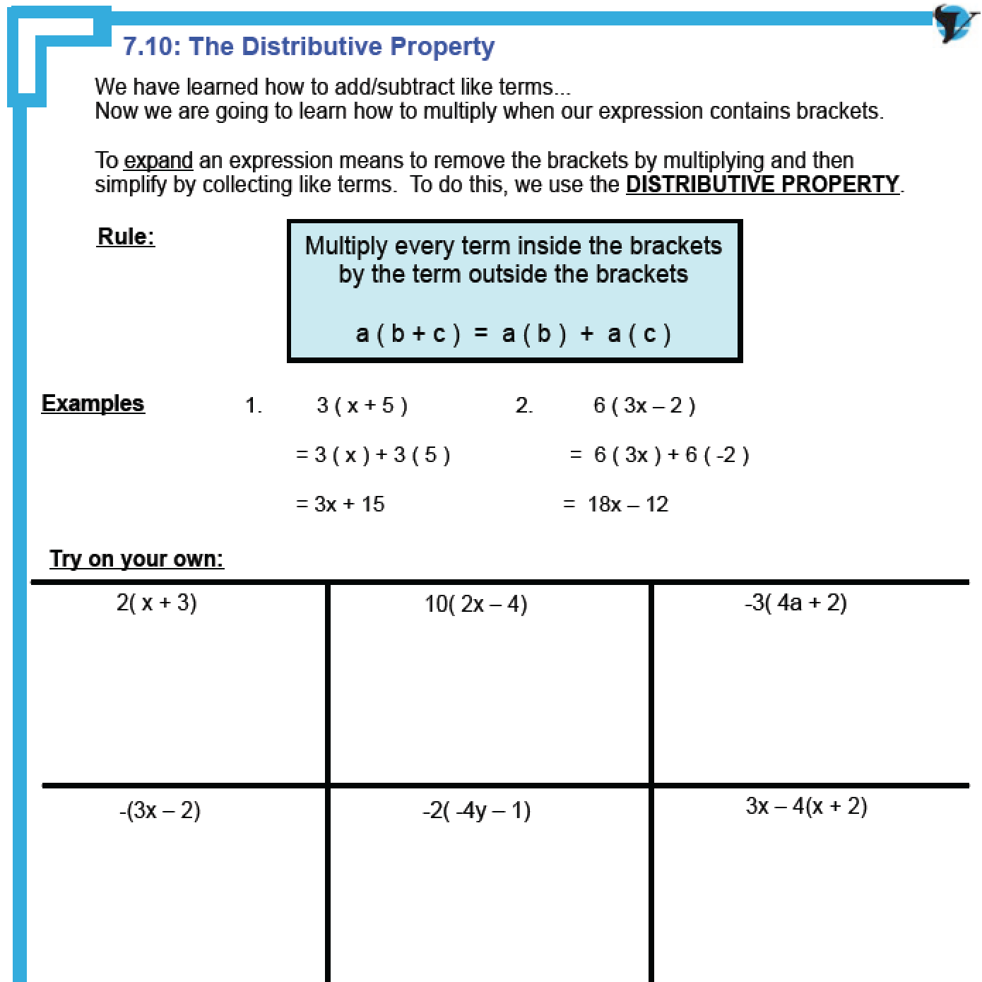 Distributive Property Worksheet Super Teacher