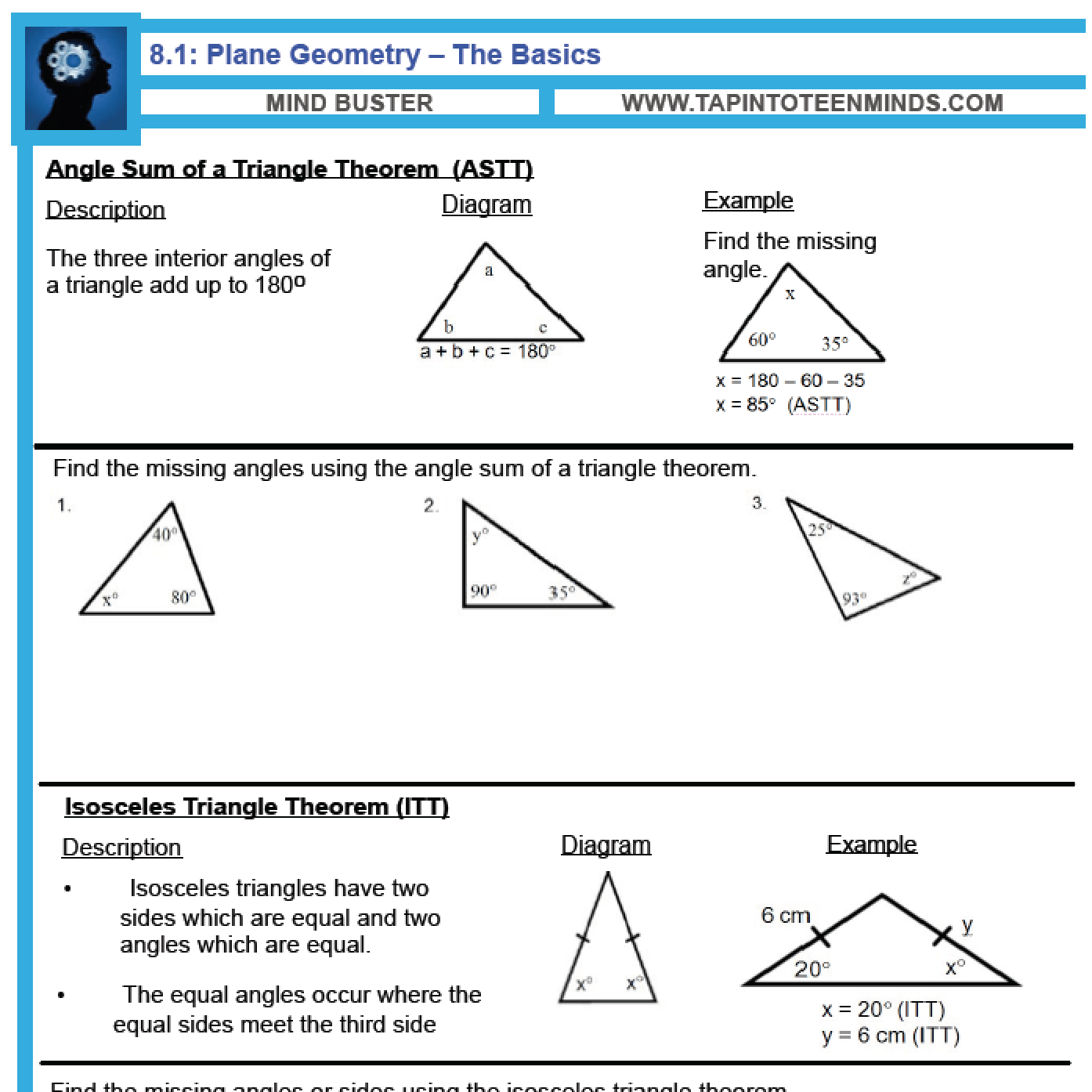 worksheet Parallel Lines And Planes Worksheet 8 1 angle relationships in triangles and parallel lines gr 9 math