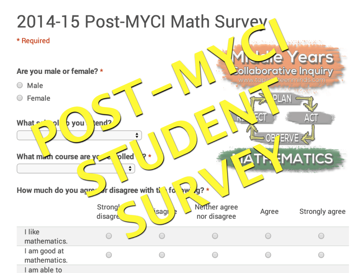 Post-MYCI Mathematics Survey