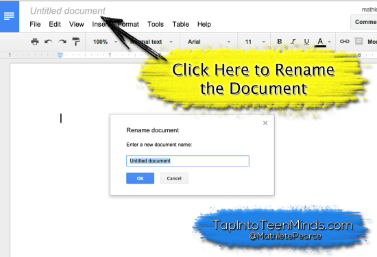 Google Drive for Descriptive Feedback - Rename Google Doc