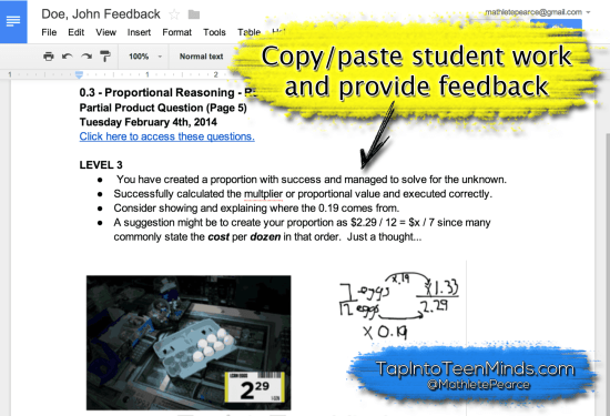 Google Drive Descriptive Feedback - Copy/Paste Student Work