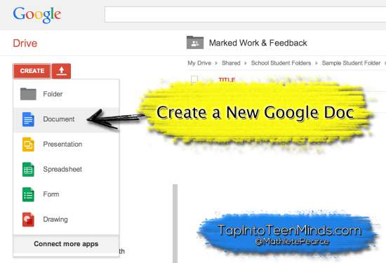 Google Drive for Descriptive Feedback - Create a New Google Doc
