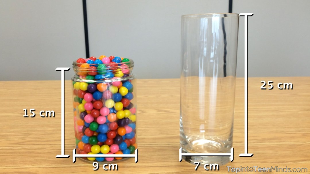 Guessing Gumballs Sequel - Dimensions of Both Containers