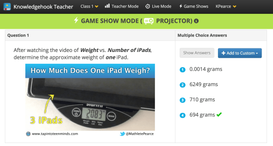 Tech Weigh In 3 Act Math Task - Knowledgehook Gameshow Question