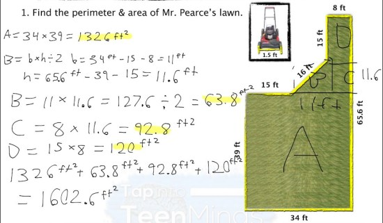 Mowing the Lawn - Student Exemplar #1 Finding Area