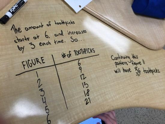 Placing Toothpicks Part 3 - 3 Act Math Student Exemplar 1