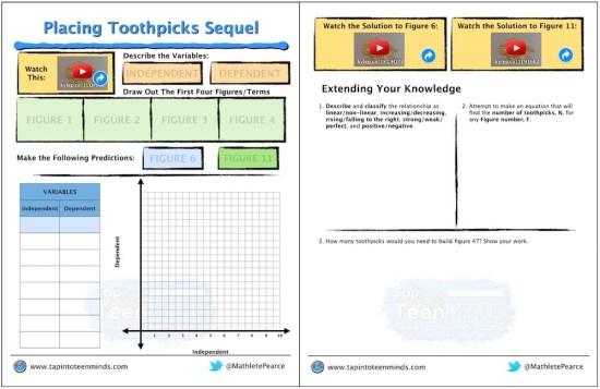 Placing Toothpicks Sequel Math Task Template Screenshot
