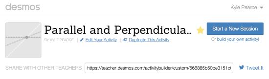 Parallel and Perpendicular Lines Desmos Activity Builder Activity