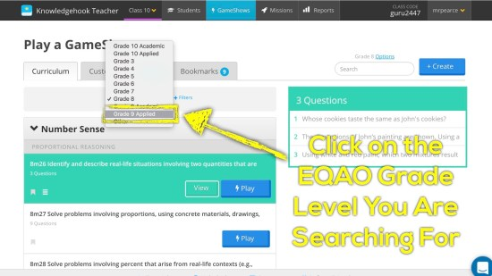 Knowledgehook EQAO Benchmark Tool - Click on Your EQAO Course