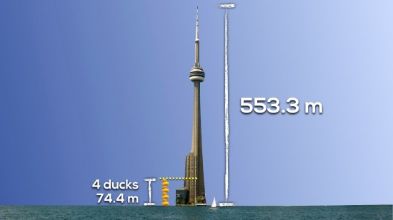 Giant Rubber Duck vs. CN Tower 3 Act Math 009 Act 2 Measurements with 4 Ducks