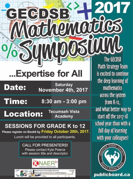 GECDSB Mathematics Symposium November 4th, 2017