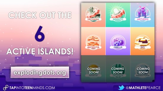 Global Math Week - Exploding Dots Island Summary - All 6 Islands